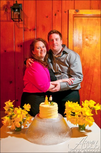 Bride and Groom with Cake